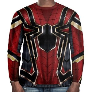 Camiseta Homem-Aranha Manga Longa Unissex Traje Aranha de Ferro