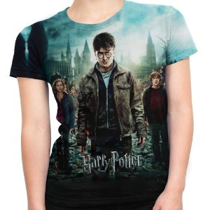Baby look Feminina Harry Potter Estampa Total Md03