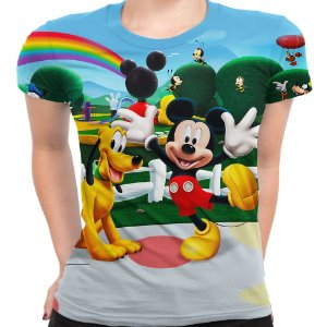 Camiseta Baby Look Feminina A Turma Do Mickey