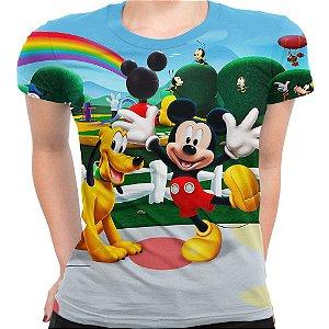 Camiseta Baby Look Feminina A Turma Do Mickey