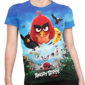 Baby look Feminina Filme Angry Birds Estampa Total