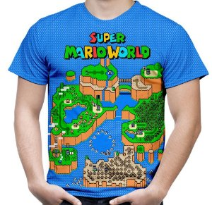 Camiseta Masculina Jogo Super Mario World Estampa Hd Md04