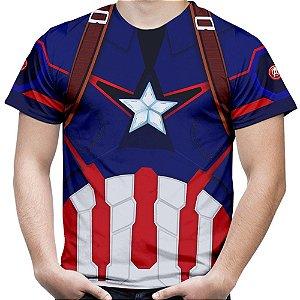 Camiseta Masculina Capitão América Traje Estampa Total Md01