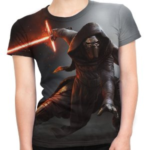 Baby look Feminina Kylo Ren Star Wars Estampa Total Md04