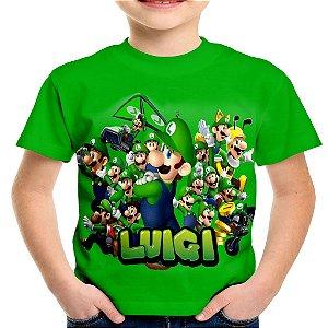 Camiseta Infantil Luigi Mario Bros Estampa Total