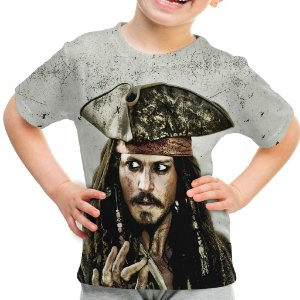 Camiseta Infantil Jack Sparrow Piratas do Caribe Estampa Total