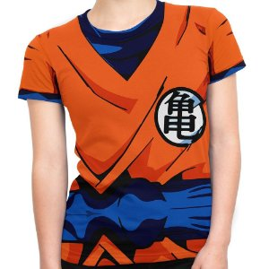Baby Look Feminina Goku Dragon Ball Traje
