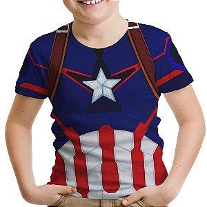 Camiseta Infantil Capitão América Traje Estampa Total Md01