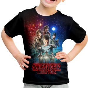 Camiseta Infantil Stranger Things Estampa Total