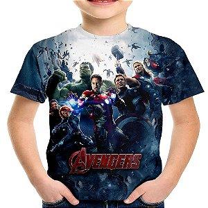 Camiseta Infantil Os Vingadores Avengers Estampa Total Md01