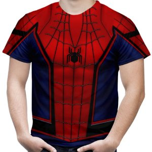 Camiseta Masculina Homem Aranha Traje Estampa Total Md05