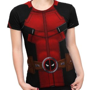 Baby Look Feminina Deadpool Traje