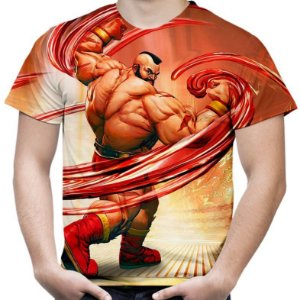 Camiseta Masculina Zangief Street Fighter Estampa Total