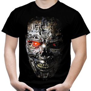 Camiseta Masculina Exterminador do Futuro T-800 Estampa Total