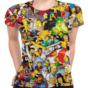Camiseta Baby Look Feminina Os Simpsons Estampa Digital Md02