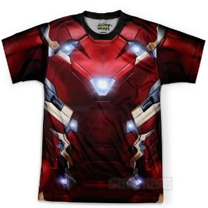 Camiseta Masculina Homem de Ferro Traje Iron Man Estampa Total Md02