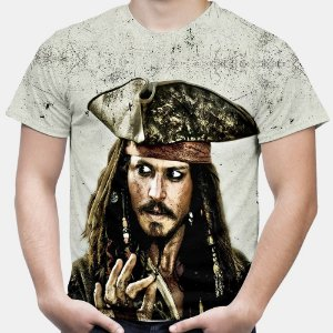 Camiseta Masculina Jack Sparrow Piratas do Caribe Estampa Total