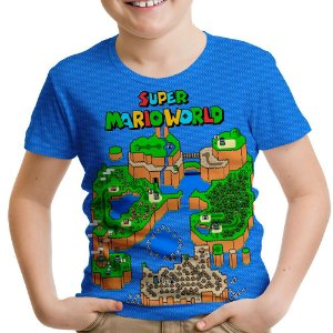 Camiseta Infantil Mapa Super Mario World