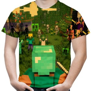 Camiseta Masculina Minecraft Estampa Total Md02