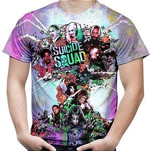 Camiseta Masculina Esquadrão Suicida Estampa Total Md02