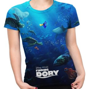 Baby look Feminina Procurando Dory Estampa Total MD02