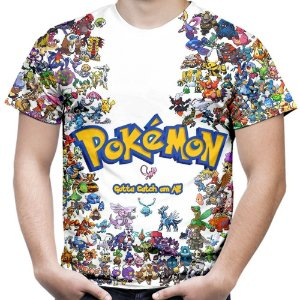 Camiseta Masculina Pokemon Estampa Total MD01