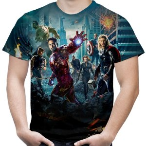 Camiseta Masculina Os Vingadores Avengers Estampa Total Md02