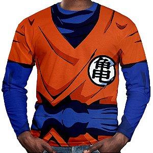 Camiseta Goku Dragon Ball Manga Longa Unissex Traje