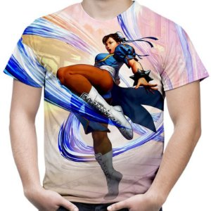 Camiseta Masculina Chun-Li Street Fighter Estampa Total