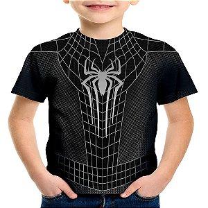 Camiseta Infantil Homem Aranha Traje Black Estampa Total