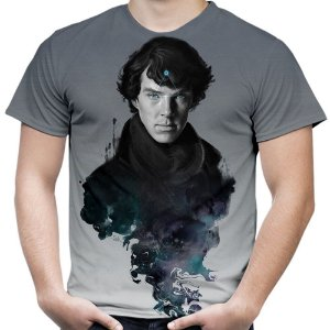Camiseta Masculina Sherlock Estampa Total Md01