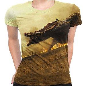 Camiseta Baby Look Feminina Game Of Thrones Dragões Md4