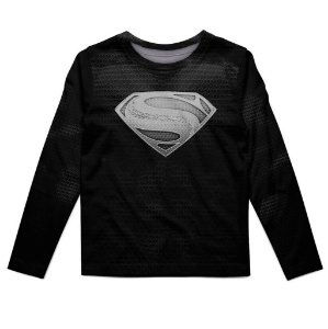 Camiseta Infantil Manga Longa Superman Black