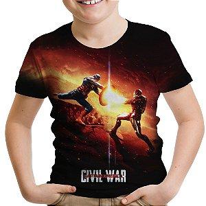 Camiseta Infantil Guerra Civil Marvel Civil War Estampa Total MD05