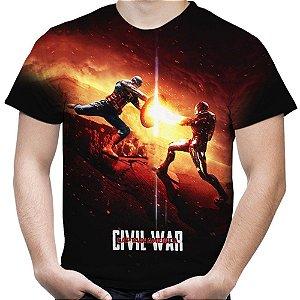 Camiseta Masculina Guerra Civil Marvel Civil War Estampa Total MD05