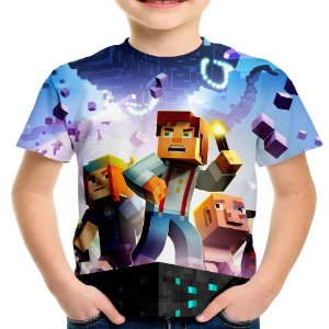 Camiseta Infantil Minecraft Estampa Total Md03