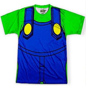 Camiseta Masculina Traje Luigi Super Mario Bros