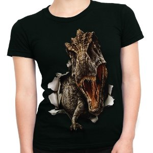 Baby look Feminina T-Rex Estampa Total Md01