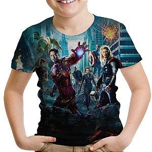 Camiseta Infantil Os Vingadores Avengers Estampa Total Md02