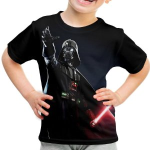 Camiseta Infantil Darth Vader Star Wars Estampa Total Md02