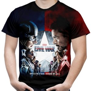 Camiseta Masculina Guerra Civil Marvel Civil War Estampa Total MD03