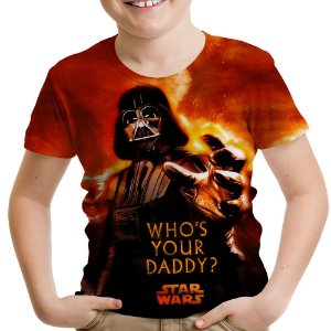 Camiseta Infantil Darth Vader Star Wars Estampa Total Md01