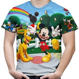Camiseta Masculina Turma Do Mickey Estampa Digital