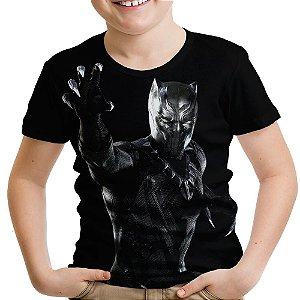 Camiseta Infantil Pantera Negra Estampa Total