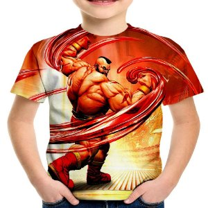 Camiseta Infantil Zangief Street Fighter Estampa Total