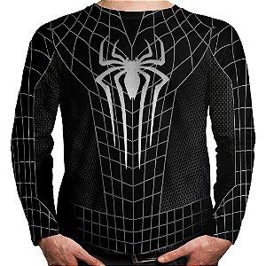Camiseta Homem-Aranha Manga Longa Unissex Black