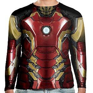 Camiseta Homem de Ferro Manga Longa Unissex Iron Man Mark 43