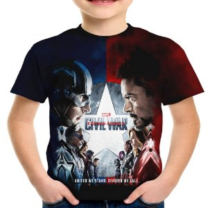 Camiseta Infantil Guerra Civil Marvel Civil War Estampa Total MD03