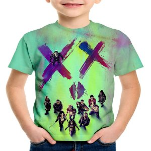 Camiseta Infantil Esquadrão Suicida Estampa Total Md01