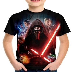 Camiseta Infantil Kylo Ren Star Wars Estampa Total Md03